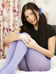 Cute brunette teen in blue nylons enjoys a good fuck