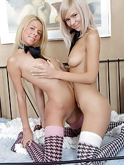 Two blonde teenage girls fuck each other's holes