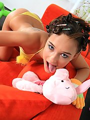 Cute Wivien gets drilled in her tiny teen pussy