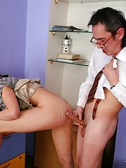 Red haired coed pleases her old teacher
